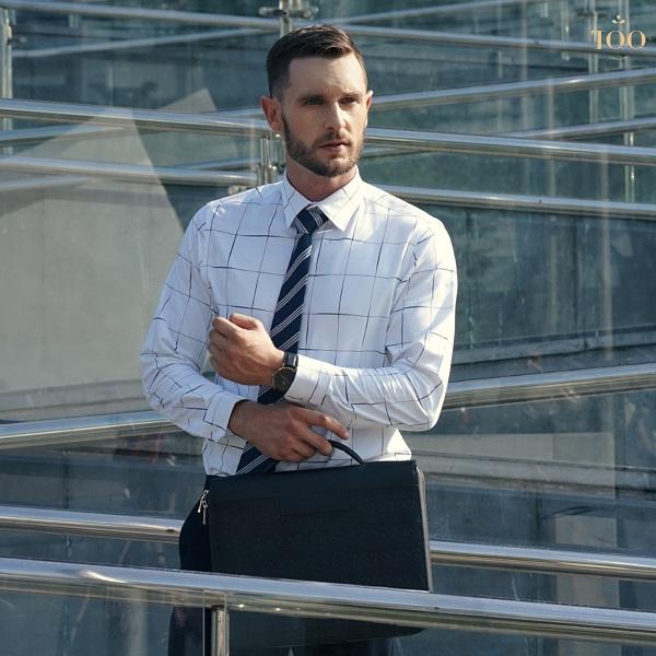 Mẫu áo sơ mi nam caro tay dài tại TQQ