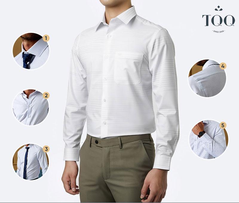 Hãy chọn chiếc áo sơ mi nam có phần ngực vừa vặn giúp nam giới thoải mái khi cử động mà vẫn gọn gàng, đẹp mắt