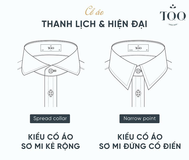 Cổ áo là chi tiết quan trọng để lựa chọn chiếc áo sơ mi nam chuẩn size