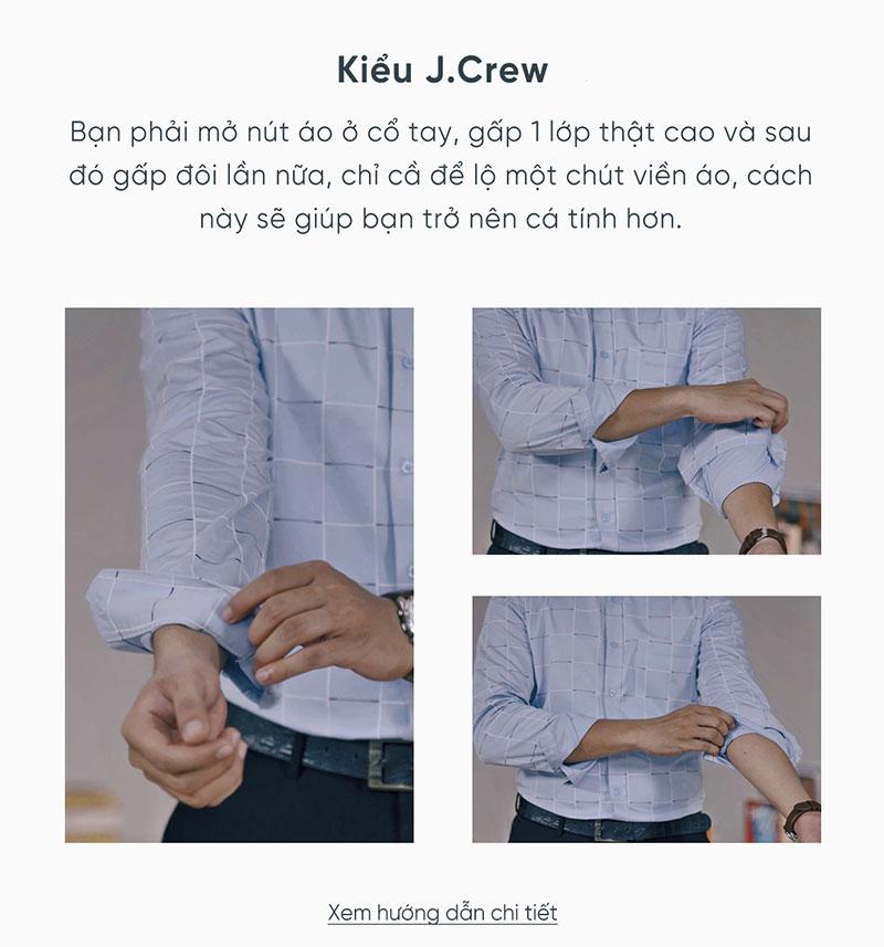 Xắn tay áo kiểu J-Crew đem đến sự lịch thiệp, cá tính và vô cùng phù hợp với những dịp quan trọng