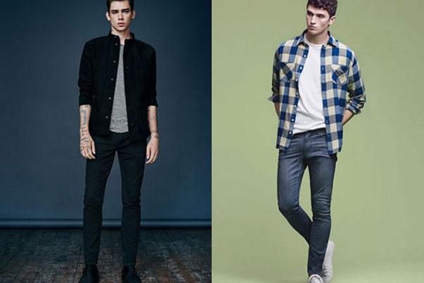 Chọn áo thun đơn sắc khi kết hợp áo sơ mi và quần jeans để sét đồ không bị rối mắt