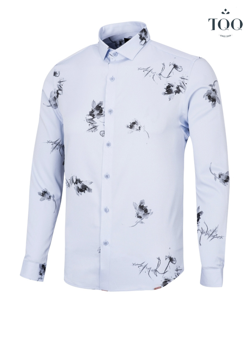 Những mẫu áo sơ mi nam họa tiết hóa văn hoa lá của TQQ đều được thiết kế vô cùng ấn tượng