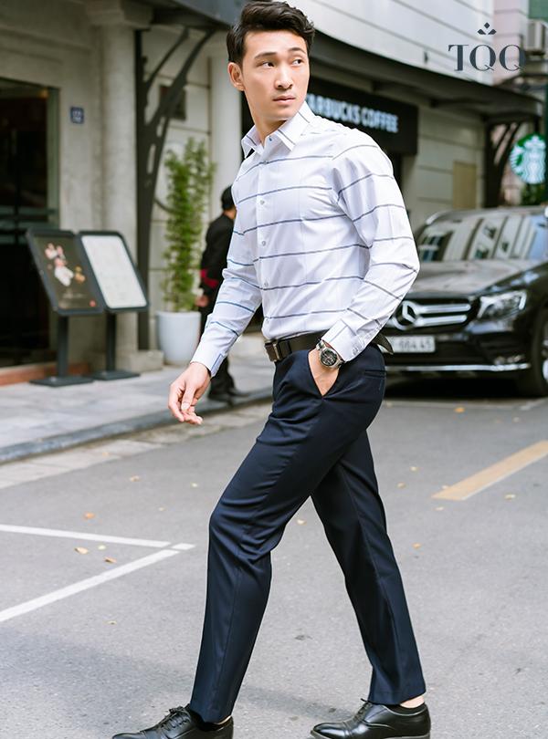 8+ Cách phối áo sơ mi nam tay dài đơn giản mà cực thu hút