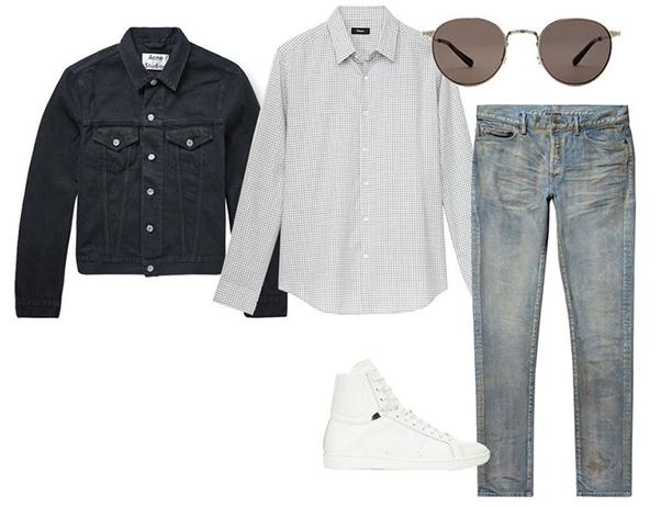 kết hợp giữa áo sơ mi nam kẻ caro và quần jean