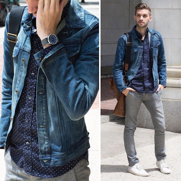 Một chiếc áo sơ mi xanh chấm bi khi kết hợp cùng áo khoác bò