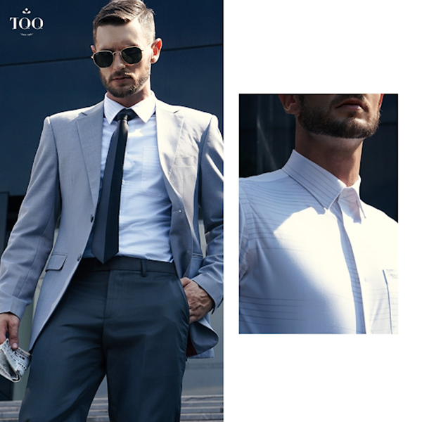 Áo khoác blazer xám ghi phối với sơ mi trắng họa tiết ghi chìm