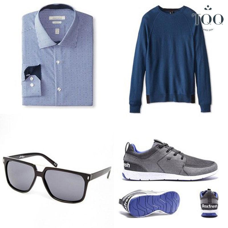 Set đồ khi mặc áo sơ mi nam kết hợp với áo len mà nam giới có thể tham khảo