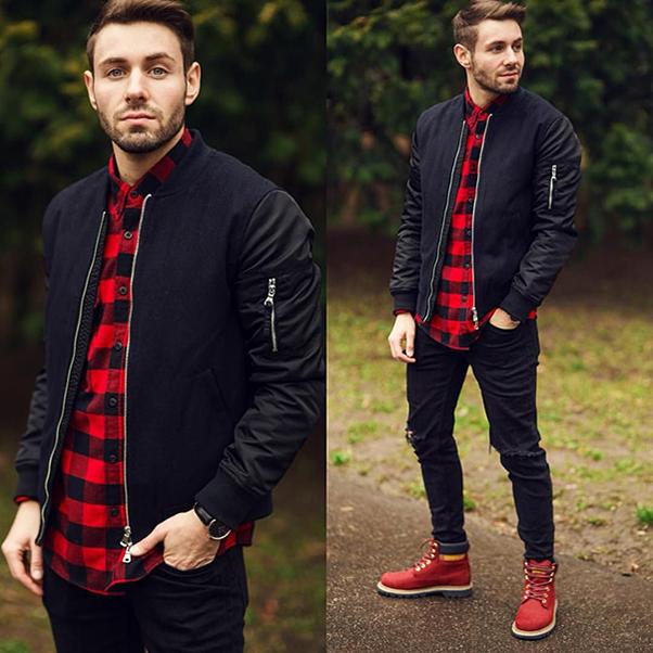 kết hợp sơ mi đỏ caro cùng áo khoác bomber đen, quần jean đen