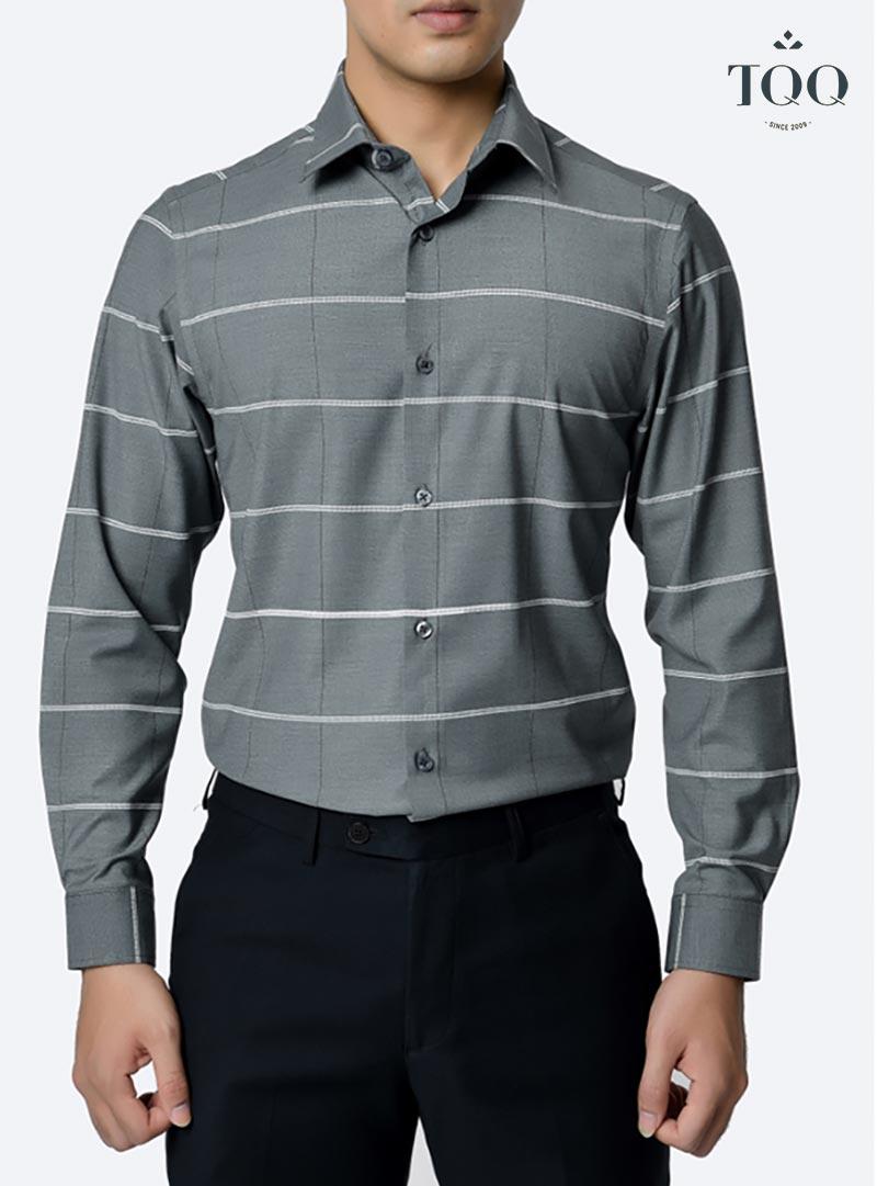 5+ mẫu áo sơ mi nam line ngang được phái mạnh ưa chuộng tại TQQ