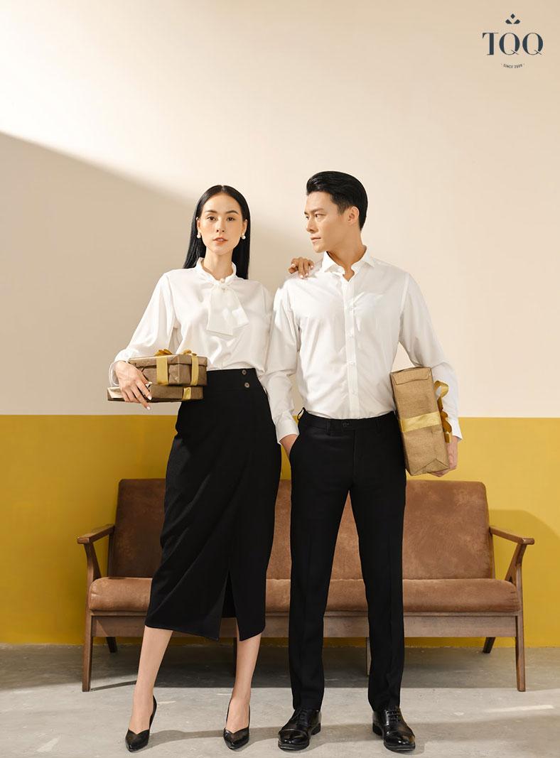 Áo sơ mi trắng, quần âu là bộ đôi không thể thiếu trong tủ đồ các quý ông lịch lãm