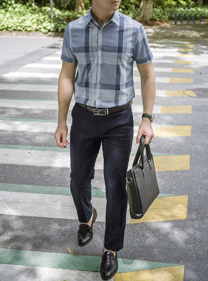 Áo sơ mi ngắn tay kết hợp với quần âu - set đồ hoàn hảo cho quý ông công sở