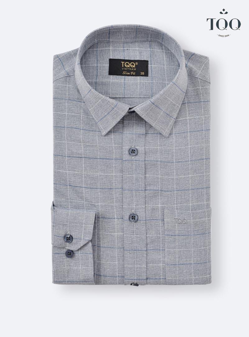 Mẫu áo sơ mi nam xám K373 với các đường kẻ trắng, xanh mảnh đan xen nhau