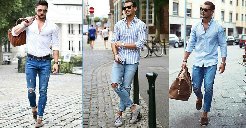 Áo sơ mi phối cùng quần Jeans mang tới vẻ ngoài trẻ trung, lịch lãm, cuốn hút