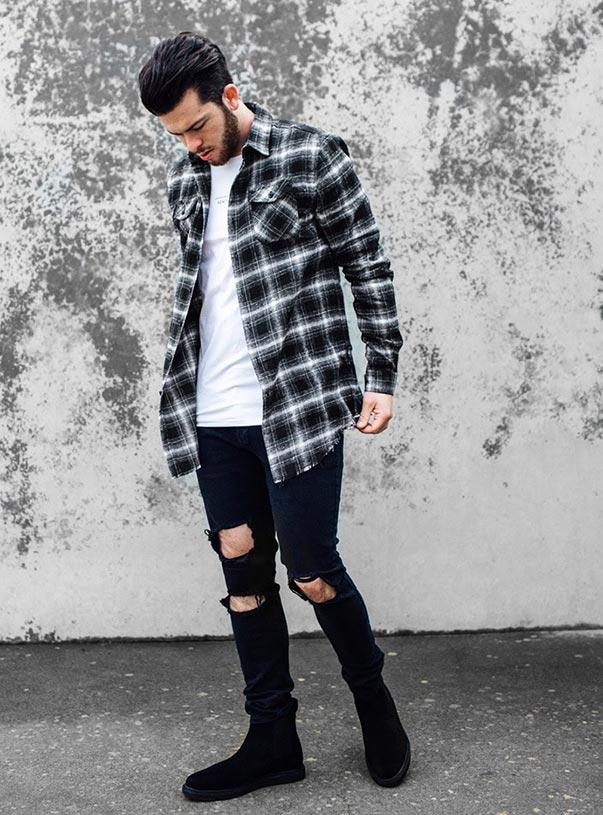 Phá cách với quần kaki rách gối kết hợp với áo sơ mi nam flannel cũng khiến bạn trẻ trung, thu hút