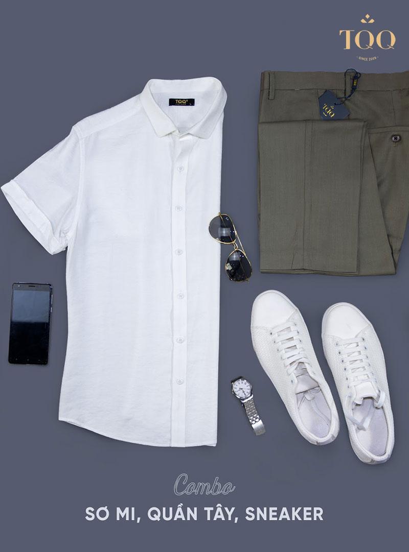 Giày thể thao kết hợp quần âu, áo sơ mi trắng phù hợp cho những ngày chàng muốn thay đổi phong cách trẻ trung, cá tính