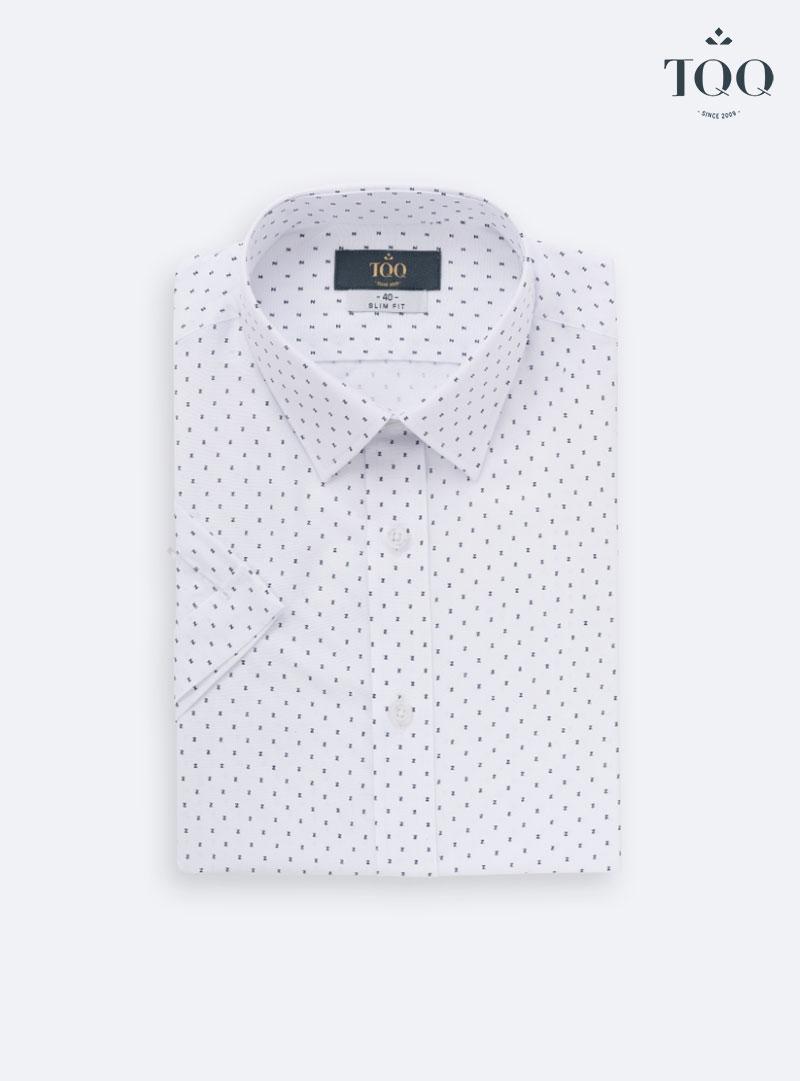Mẫu áo sơ mi màu trắng hoạ tiết chữ nhỏ H267CSC thiết kế tinh tế và trẻ trung cho phái mạnh