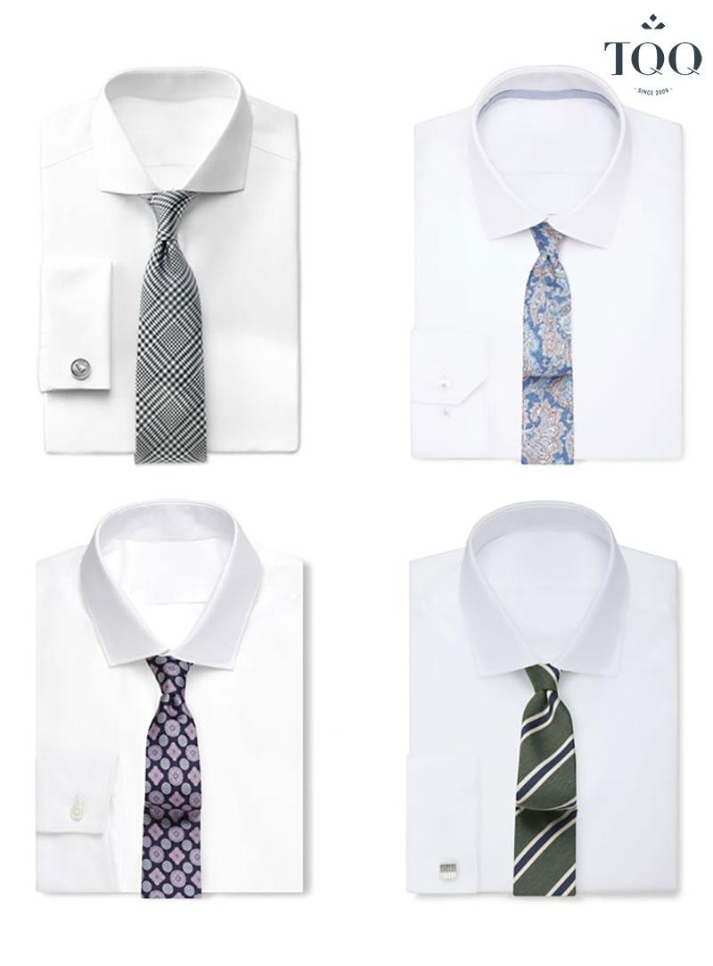 Với áo sơ mi trắng, bạn có thể thoải mái lựa chọn cà vạt theo sở thích của mình