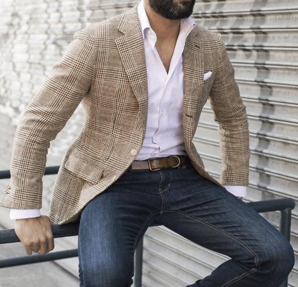 quần jeans để kết hợp với set áo sơ mi mặc với vest nam màu be