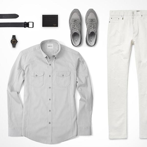 set đồ với sơ mi nam, quần kaki và giày màu ghi xám