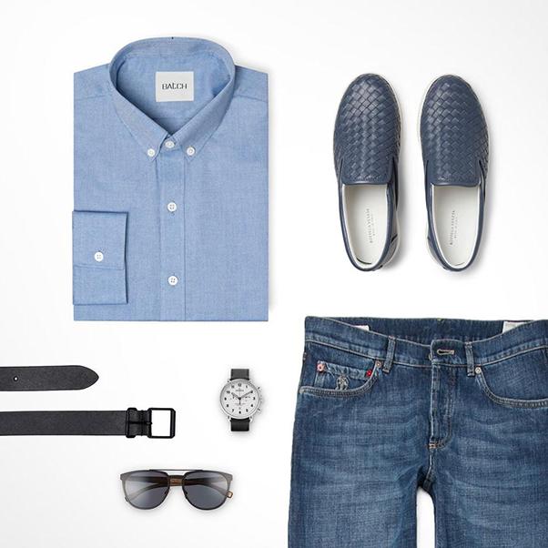 áo sơ mi nam, quần jeans, giày lười xanh dương