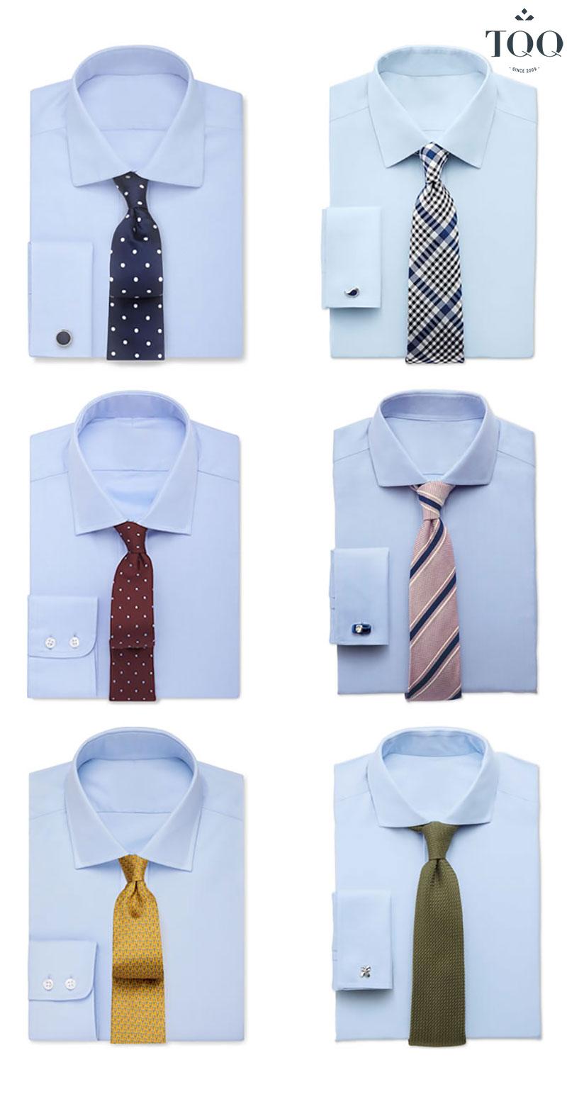 Sơ mi xanh phù hợp nhất với cà vạt có màu tím hoặc những màu xanh đậm