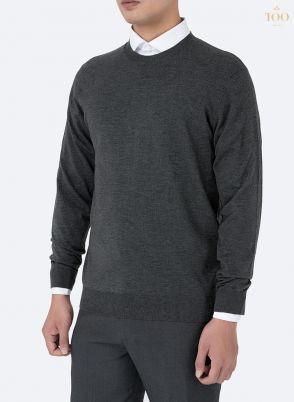 Áo len nam cổ tròn cao cấp Len03 màu ghi xám