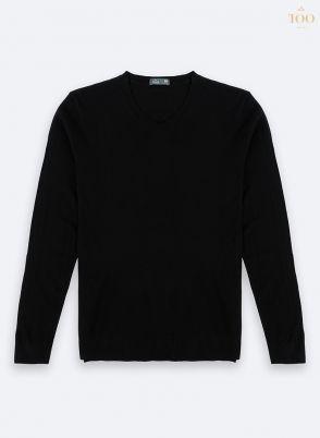 Áo len nam cao cấp Len04 cổ tim màu đen