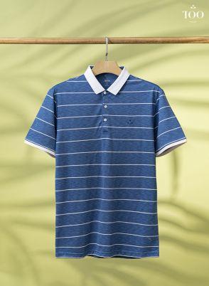Áo polo kẻ ngang PC2009 xanh lông công