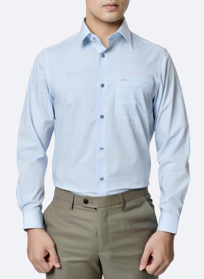áo sơ mi nam đứng tuổi dài tay màu xanh dương sáng