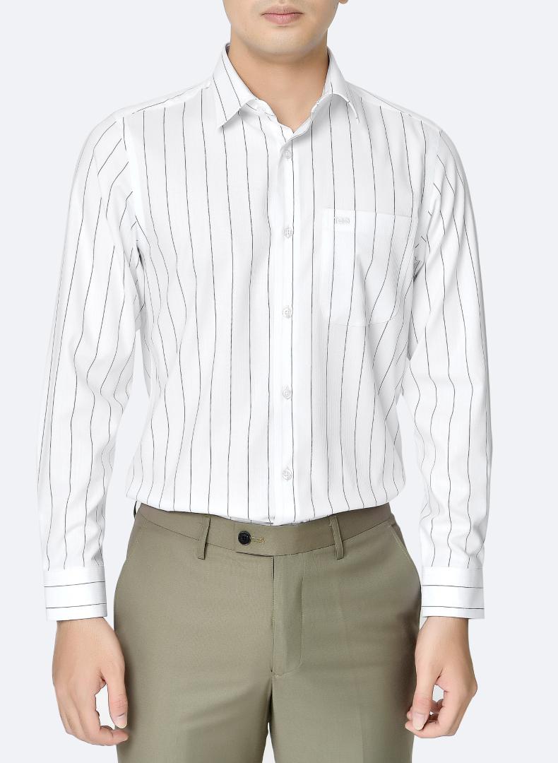 mẫu áo sơ mi nam K380CS sọc trắng đen