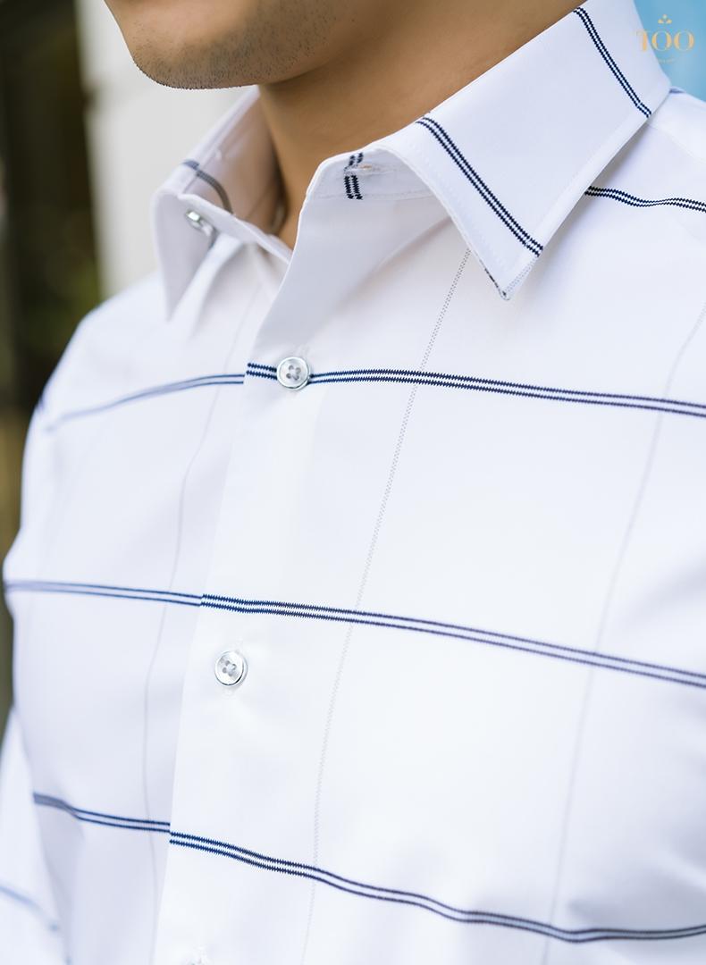 Áo sơ mi trắng nam không túi với thiết kế cổ đứng sang trọng