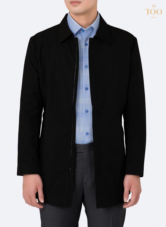 Áo khoác có độ dài trên đầu gối phối áo sơ mi nam họa tiết đơn giản
