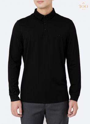 Áo polo dài tay màu đen trơn PLD1901