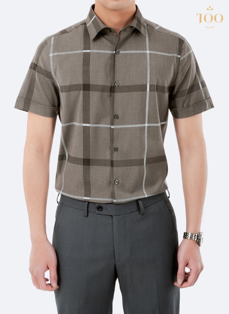 Mẫu áo sơ mi nam cộc tay hoạ tiết kẻ K424 màu ghi