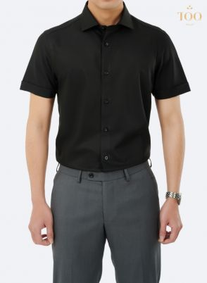 Áo sơ mi áo sơ mi nam màu đen ngắn tay cao cấp M71CSC
