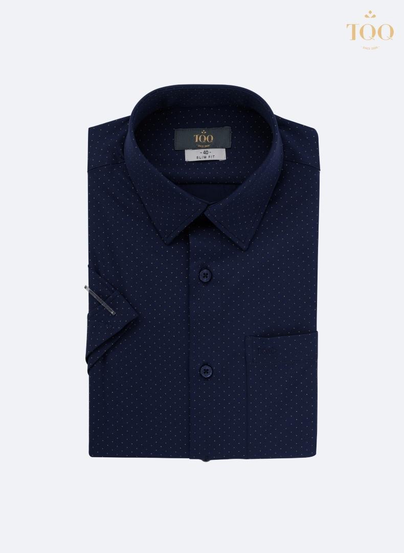 Mẫu áo sơ mi ngắn tay chấm bi H256CSC tím than với họa tiết chấm nhỏ khá tinh tế