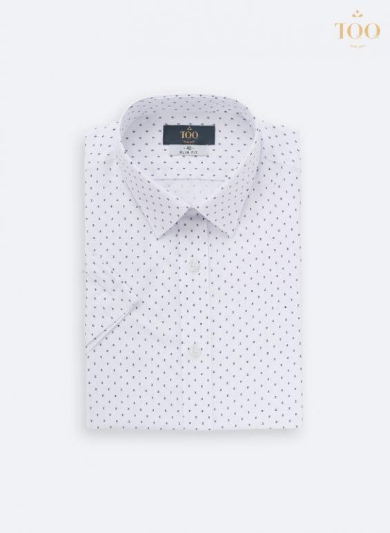 Mẫu áo sơ mi ngắn tay H237CSC màu trắng phối chữ Z đen nổi bật