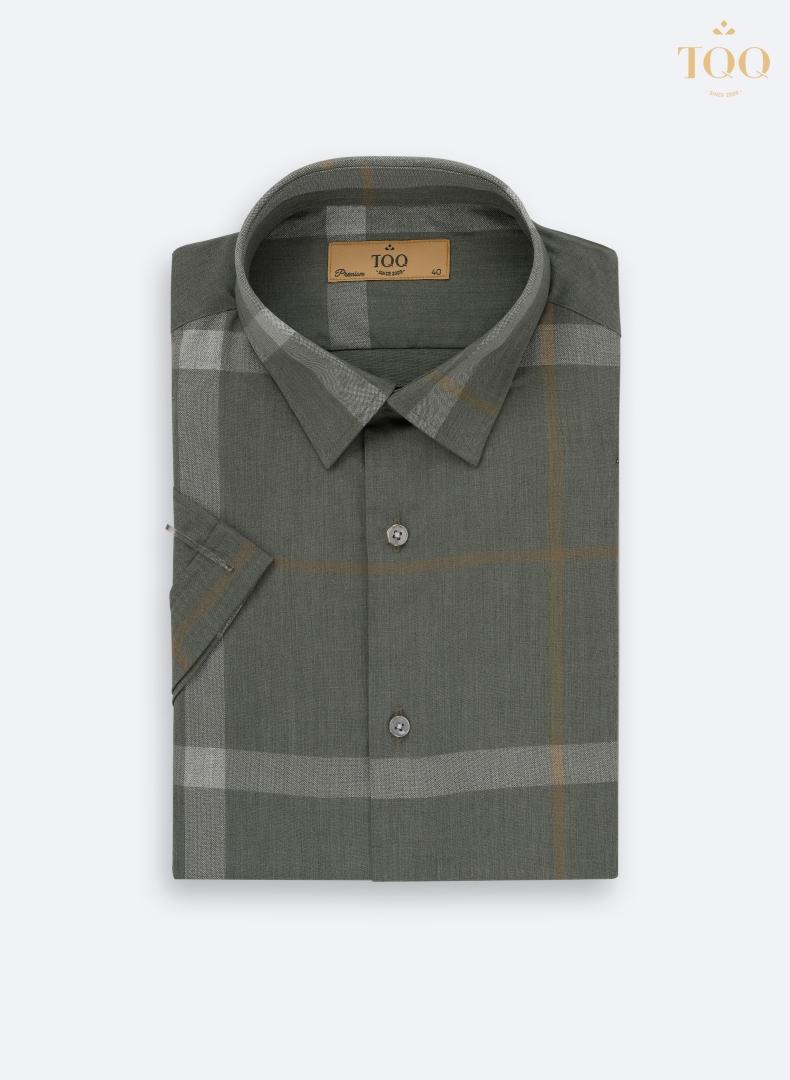 Mẫu áo sơ mi nam màu rêu trung niên ngắn tay K424CSC