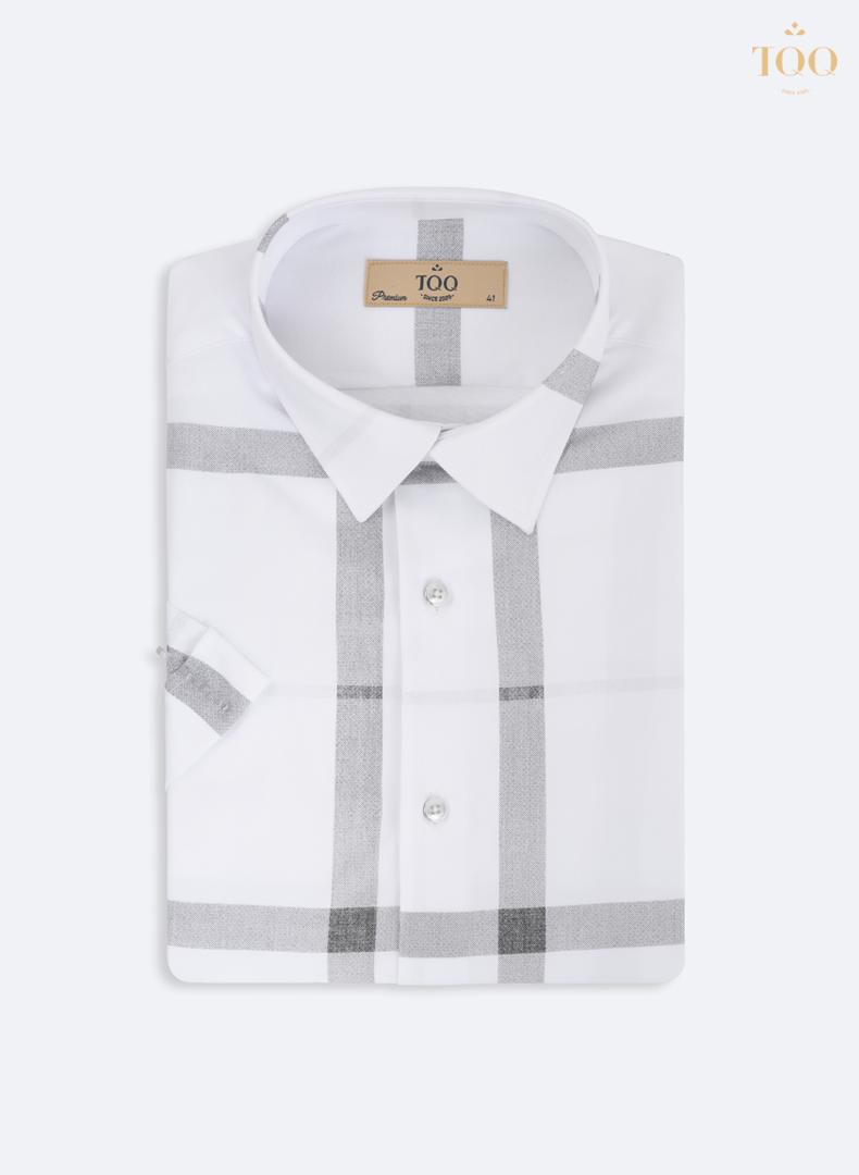 Mẫu áo sơ mi nam trắng K424CSC phối kẻ tinh tế