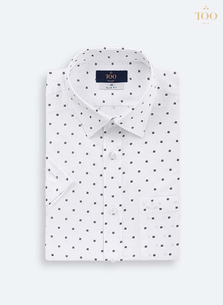 Mẫu áo sơ mi nam ngắn tay trung niên H296CB trắng phối họa tiết