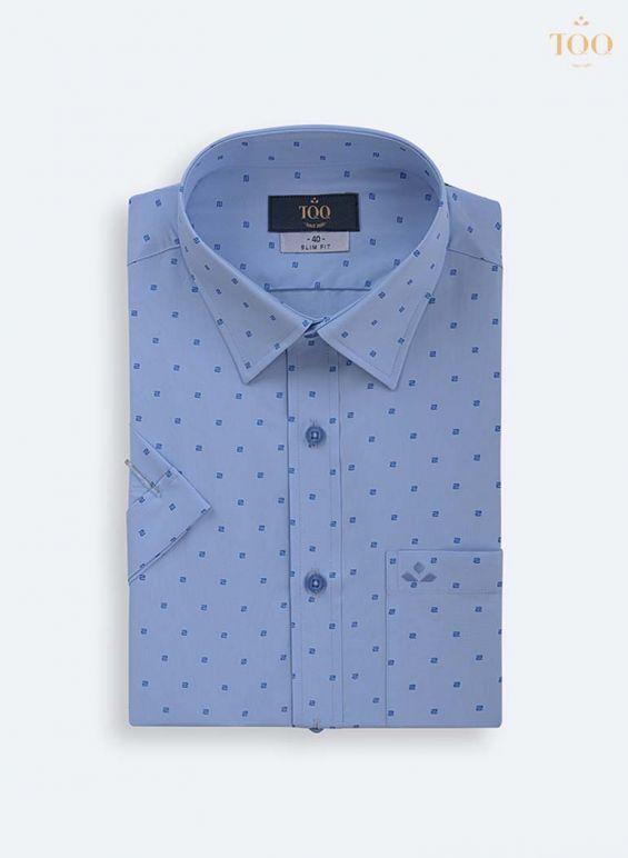 áo sơ mi họa tiết chữ S xanh H296CB