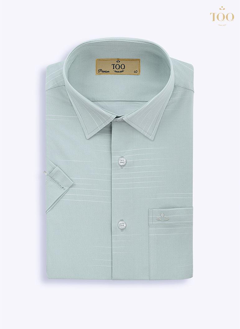 Mẫu áo sơ mi nam trung niên xanh mint, vân chìm H252CSC