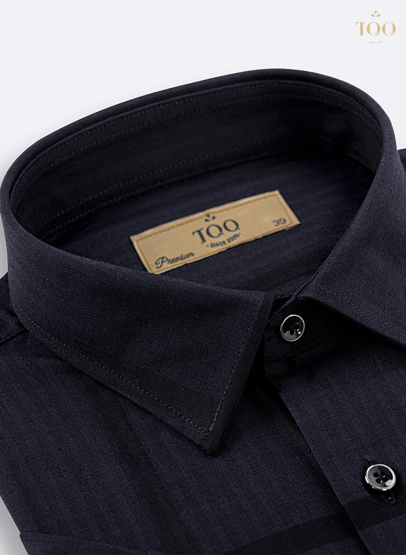 Họa tiết kẻ dệt trên nền vải cotton cao cấp màu đen mịn mượt