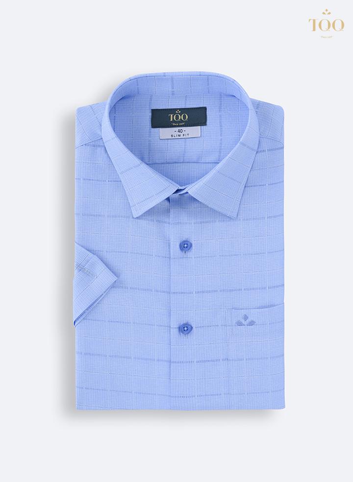 Mẫu áo sơ mi nam công sở xanh kẻ ngắn tay K436CB