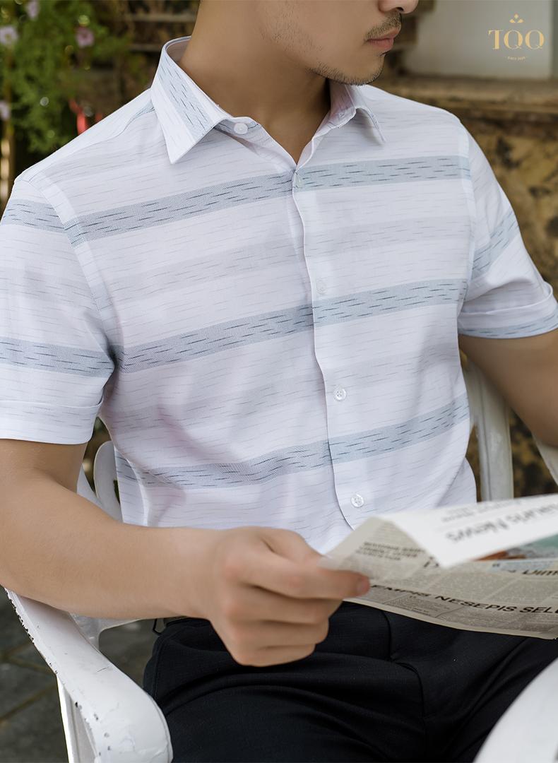 Mẫu áo sơ mi nam trắng họa tiết đơn giản K426CB