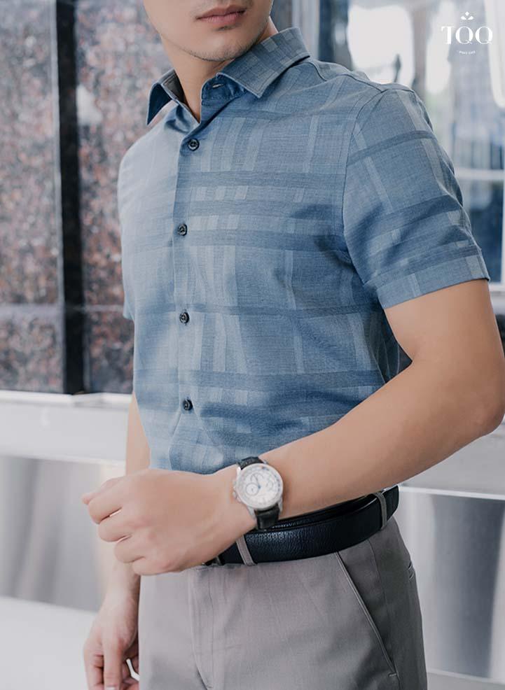 Mẫu áo sơ mi công sở nam màu xanh rêu ngắn tay K414CSC
