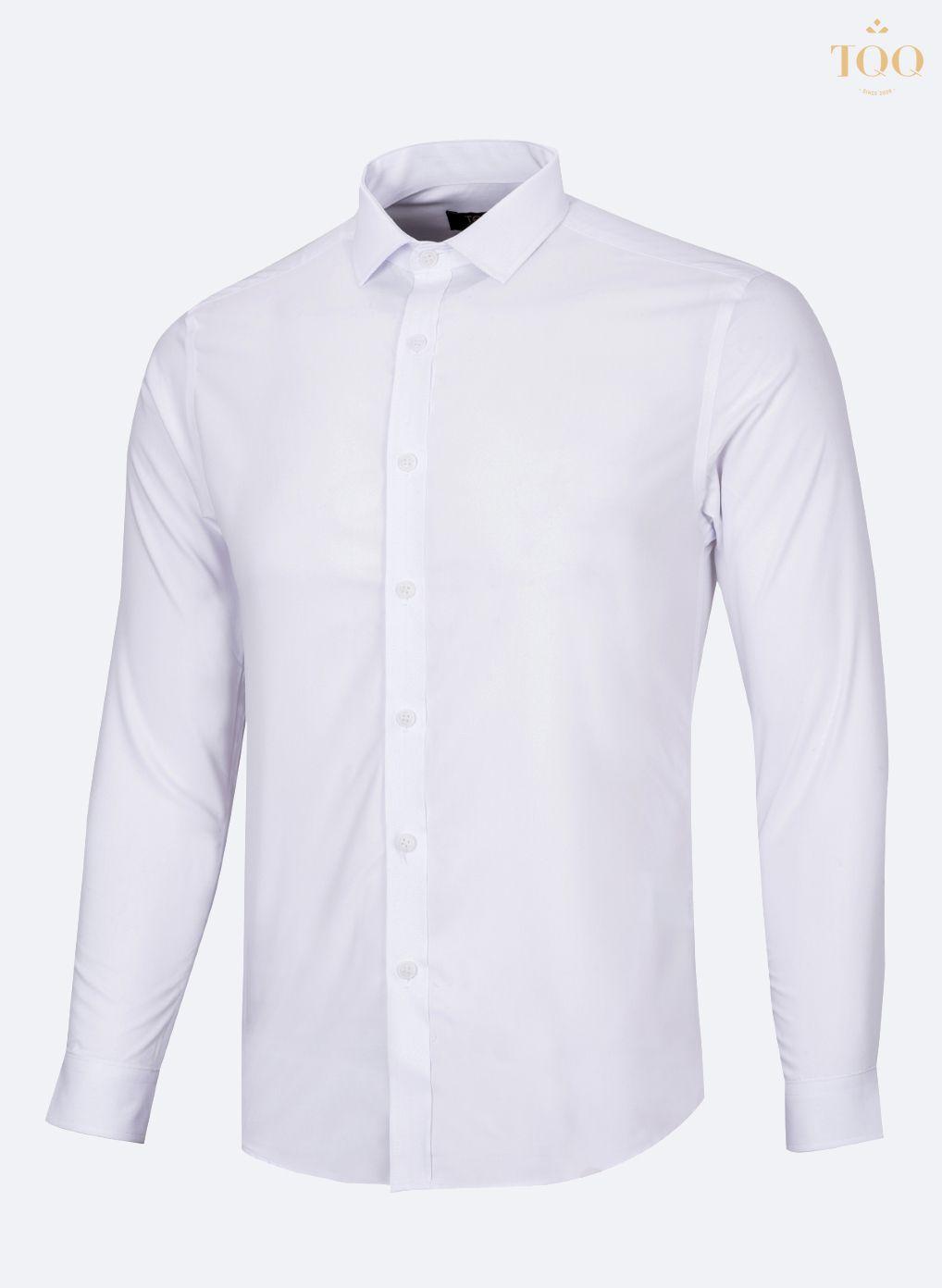 Mẫu áo sơ mi nam ôm body M01 màu trắng vô cùng trang nhã, lịch lãm