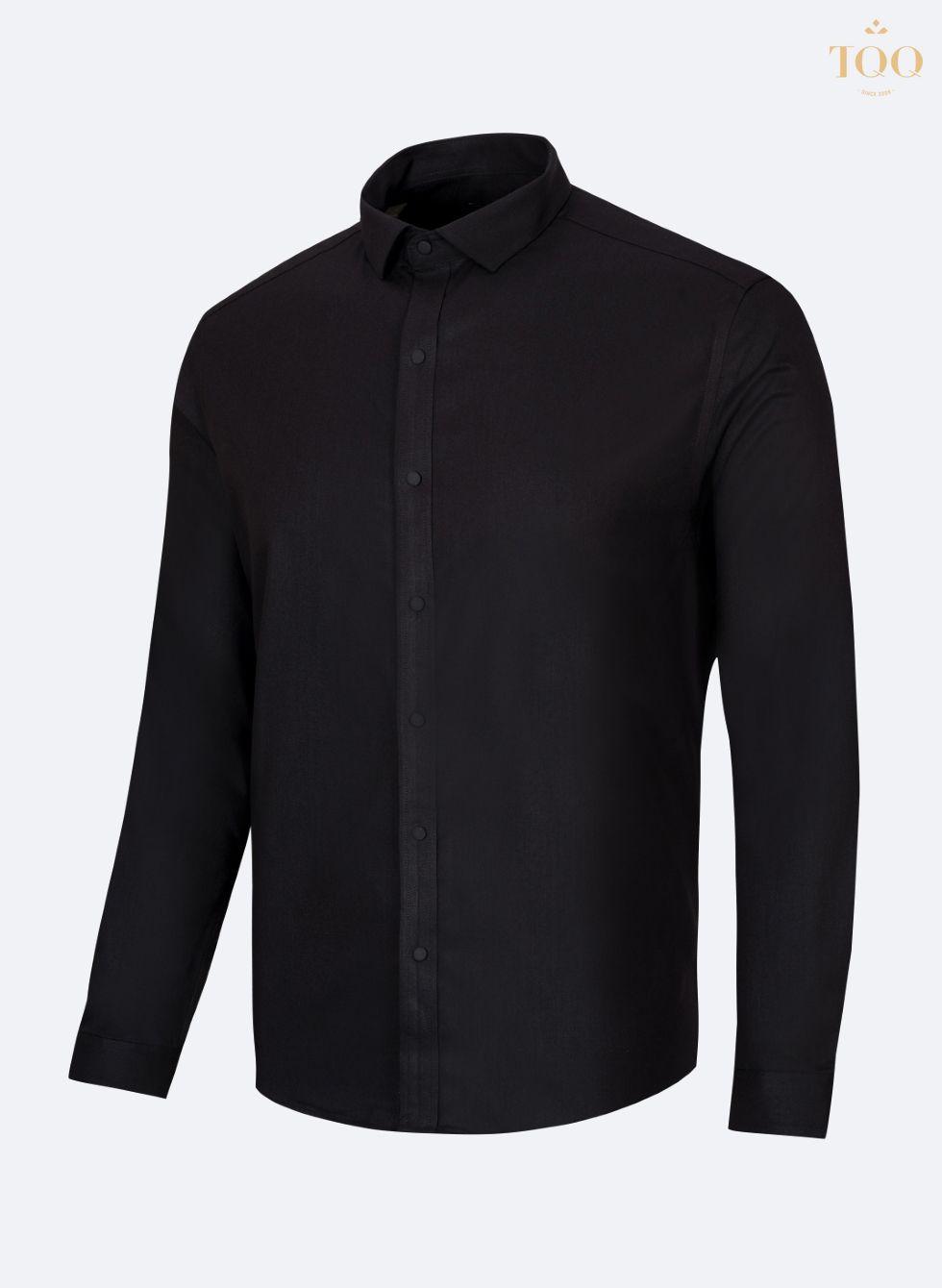 Mẫu áo sơ mi ôm body màu đen trơn lịch lãm, sang trọng M78