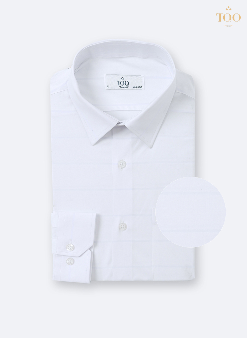 Áo sơ mi dáng suông CFK355CS trắng - mẫu áo không thể thiếu của các quý ông đứng tuổi