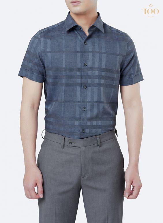 Sơ mi nam họa tiết xanh đậm tại Hà Nội
